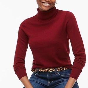 J. Crew 365 Burgundy Red Merino Wool Turtleneck Sweater Size XS